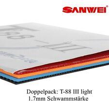 Sanwei Tischtennisbelag Doppelpack T88-III LIGHT allround 1x rot und 1x schwarz