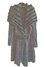 Slonl Coat Rabbit Fur Trim Large Sweater Cable Knit Ruffle Leather Goth Belt