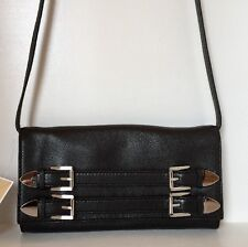 Michael Kors Robin Clutch -Messenger Black Genuine Leather Silver Hardware Small