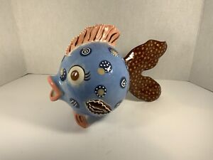 PUFFER FISH ART POTTERY signed Glazed FISH Eyed Blue Brown PEACH