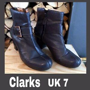 "Clarks Ankle Boots Leather Dark Grey Large Buckle Brazil Heel 3"" Ladies VGC UK 7"