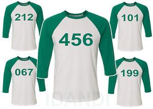 Squid Player Game Custom Numbers 3/4 Sleeve Raglan Baseball T shirt 456 001 067