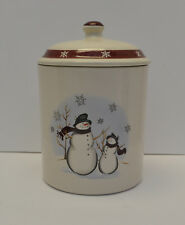 "Royal Seasons Stoneware Christmas Winter Snowman 9"" Canister Cookie Jar & Lid"