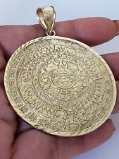 Big large 10k yellow gold aztec calendar pendant charm 2.60 inch long Mayan sun