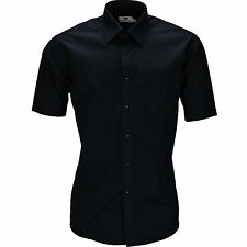 New Mens Poplin Button Up Formal Shirt Top Short Sleeve Office Work School Lot
