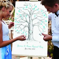 Personalised Wedding GUEST FINGER PRINT CANVAS. Unique Tree design