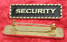 Security Lapel Pin Badge Black & Gold Colour Sign Brooch
