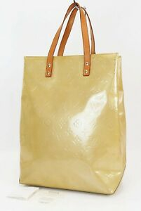 Authentic LOUIS VUITTON Reade MM Yellow Vernis Leather Tote Bag Purse #39548