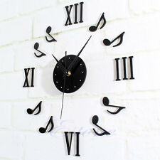 Modern Black DIY Music Notes Wall Clock Mirror Surface Sticker Home Office Decor