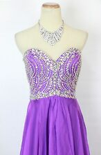 New Genuine Tony Bowls 114713 Purple Beaded Long Evening Prom Women Gown 10