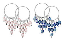 925 ECHT SILBER *** Creolen Ohrringe 25 x 55 mm, Perle rosa oder blau