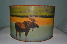 "Moose, Bear, Deer Lamp Shade 12"" x 12"" Drum, Rustic Cabin Decor"