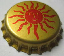 HEY MON, SUNBURST gold & red Beer CROWN, Bottle Cap, Evansville, INDIANA CLOSED