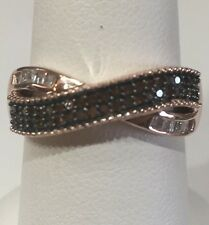 RED & WHITE DIAMOND RING, (.60) 14K ROSE GOLD .925 SS, SIZE 6