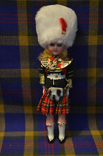 "Vintage 8 1/2"" Tall Hard Plastic Doll in Authentic Scottish Attire-Blinking Eyes"
