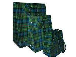 NEW Scottish Tartan Laminated Gift Bag SMALL MEDIUM LARGE Green Hunting Stewart