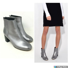 Rag & Bone Drea Gunmetal Silver Zip Up Boots  Size: EU 38 US 8