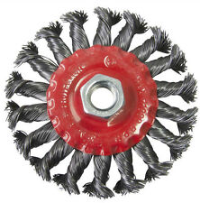 """100mm 4"""" Twist Knot Wire Wheel Brush For 115mm Angle Grinder Metal Work M14"""