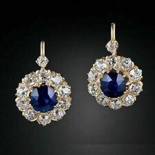 Blue Sapphire Diamond Huggie Hoop Earring 14K Yellow Gold Finish 3.0Ct Round