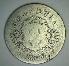 1850 Switzerland 20 Rappen Swiss Helvetia Billon 20 Cent Coin F