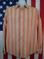 EXPRESS Mens Medium Long Sleeve Button Front Casual Shirt Peach