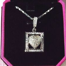 2.95ct White Cubic Zirconia 925 Sterling Silver Framed Heart Necklace