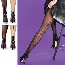 Silky Seamer Scarlet Back Seam Seamed Tights Retro Burlesque Black Large