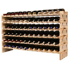Wine Rack 72 Bottles Stackable Storage 6 Layer Solid Wood Display Shelves