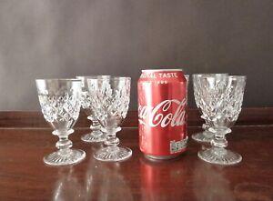 7 Antique Tudor Crystal Burleigh Cut Sherry Glasses, Signed 1930's h 10,5cm