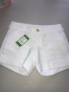 """Lilly Pulitzer NWT 5"""" Callahan Party Shorts White Textured Plainweave $78"""