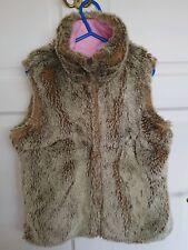 Gap Girls Pink Reversible Faux Fur Winter Gilet Jacket Coat Sz Small UK 6-7 yrs