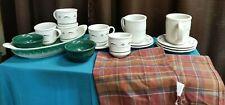 Longaberger Pottery Heritage Green Mugs Bowls Plates Serving Dish Plaid Napkins