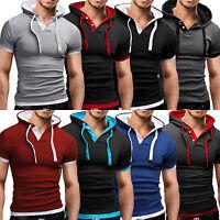 Men's Short Sleeve Hoodie Hooded T-Shirt Summer Slim Fit Muscle Gym Sport Tops