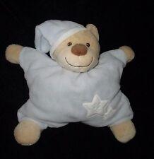 Bout'chou Blue White Tan Star Teddy Bear Rattle Soft Toy Plush Lovey Doudou