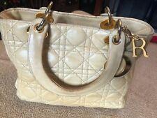 Utiliza Christian Dior Beige Acolchado Dama Piel de cordero bolso mediano 100% Original