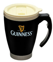 Lidded Travel Mug Guinness Label Black and Cream Steel and Plastic Round Handle