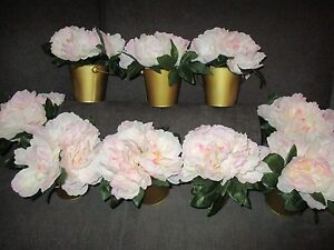 Artificial Peony Pink Flowers Gold Buckets Wedding Party Set of 9 Centerpieces