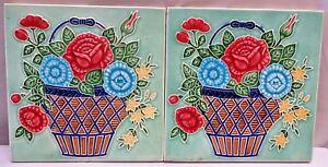 TILE ART NOUVEAU MAJOLICA FLOWERPOT VINTAGE M S tile WORKS JAPAN COLLECTIB 2p#2