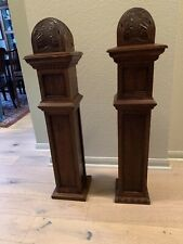 """~ Set Of 2 ANTIQUE CARVED OAK POSTS 38"""" TALL ~ ARCHITECTURAL SALVAGE ~"""