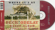 """BECK """"WHERE IT'S AT"""" ULTRA RARE SPANISH PROMOTIONAL CD SINGLE / SPANISH TEXTS"""