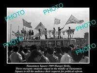 OLD LARGE HISTORIC PHOTO OF 1989 TIANANMEN SQUARE PROTESTS, HUNGER STRIKE