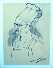 Portrait de militaire WWII capt T. gray restauration officier crayon Robert LYON C1941