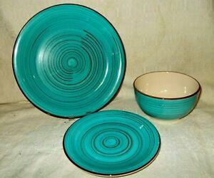 Better Homes & Gardens Festival Dishes 3 pc BLUE-dinner, salad, soup/cereal bowl