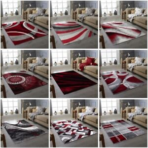 Burgundy Red Grey Floor Rugs Small Extra Large Sizes Thick Soft Pile Mat Cheap