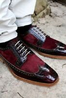 Handmade Men's Burgundy Leather & Suede Wing Tip Brogues Dress/Formal Shoes