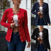 Women Button Coat Jacket Cardigan Blazer Suit Ladies Sweater Outwear Jumper Tops