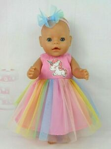 """Dolls clothes for 17"""" Baby Born DOLL~PINK UNICORN~PASTEL RAINBOW TULLE DRESS"""