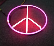 Vintage Neon Light Peace Sign 2 Colors Custom Hippy Logo Display No Ballast AsIs