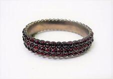 Vintage Garnet Bangle Bracelet 3 Rows of Garnets