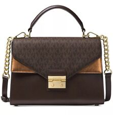 02e8ca2f7659 New Michael Kors Sloan Medium Top Handle Satchel bag mix leather chocolate  gold